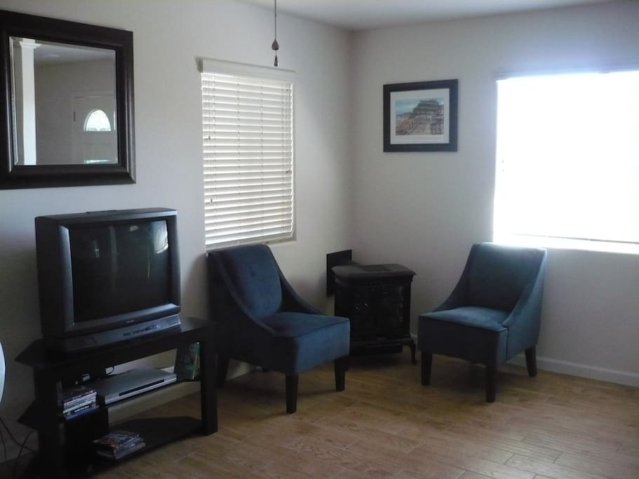 There is now a flat screen TV and a Blue-Ray player with access to Netflix, YouTube, etc. In the corner is a free standing gas fireplace.