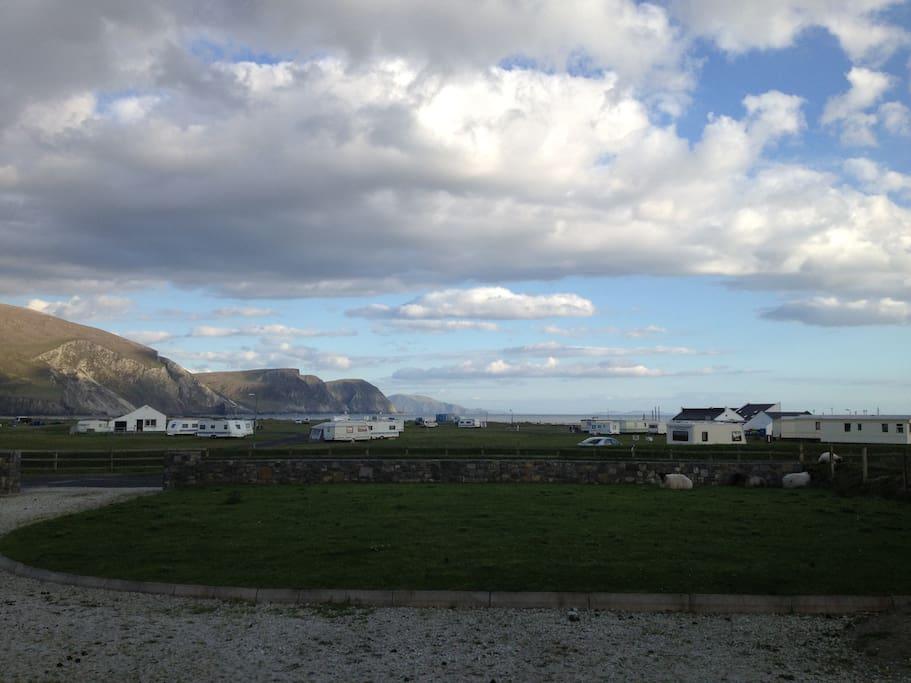 Minaun Cliffs with Caravan park and lawn guests