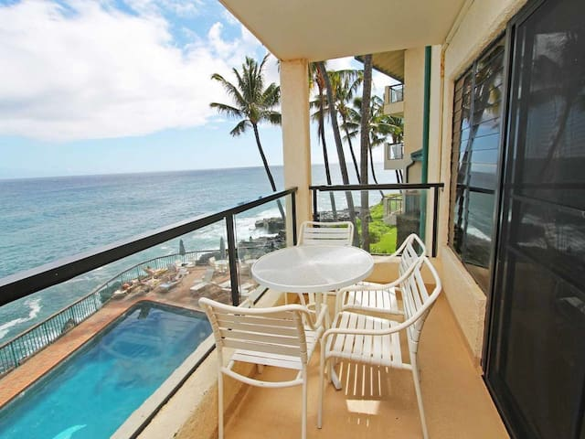 Super View+Island Ease! Kitchen, Private Lanai, WiFi, Washer/Dryer–Poipu Shores 203B