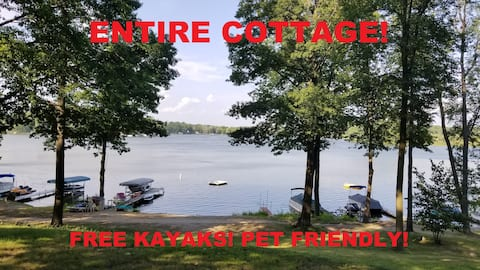 Lake Front Cottage - Free Kayaks - Sleeps 6!