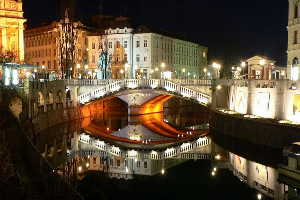 Ljubljana center at night
