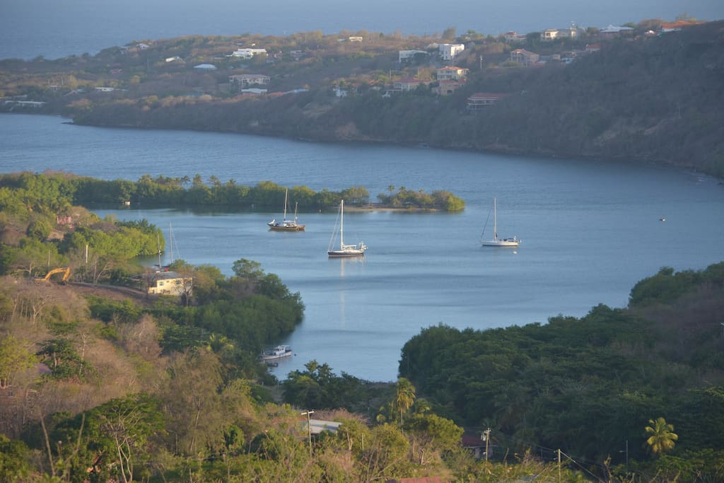 Views across the ocean and local marina can be seen from the terraces.