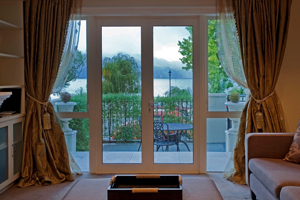 Stunning scenery with lake and mountain views from the lounge