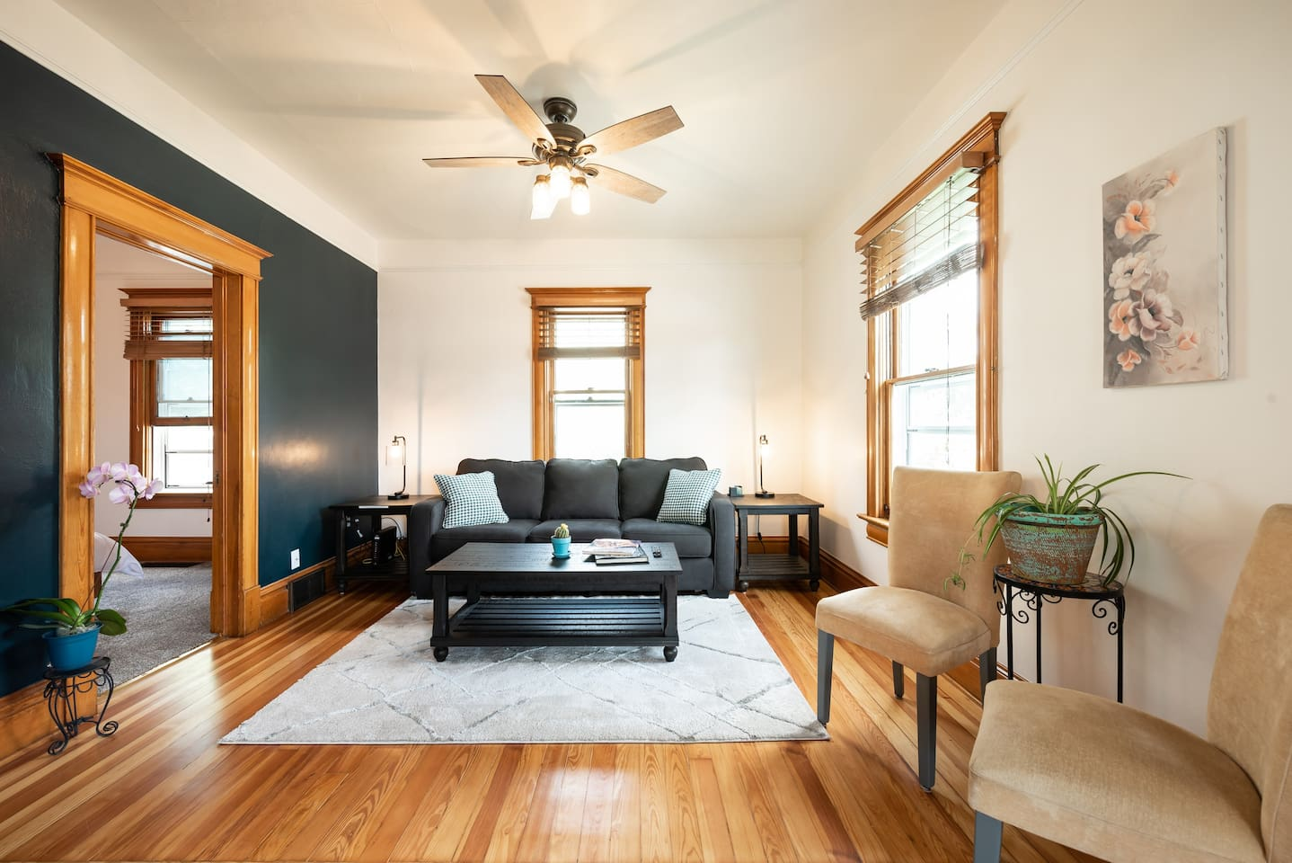 Living room with queen sofa sleeper (memory foam mattress)
