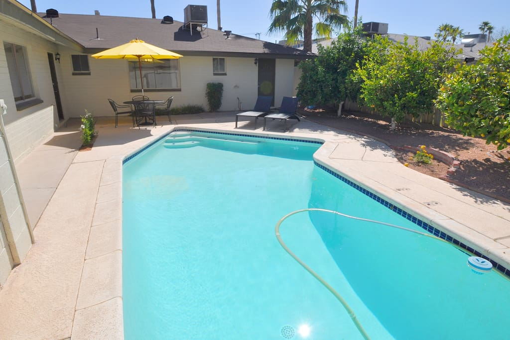 Pool with lounge chairs available during your stay!