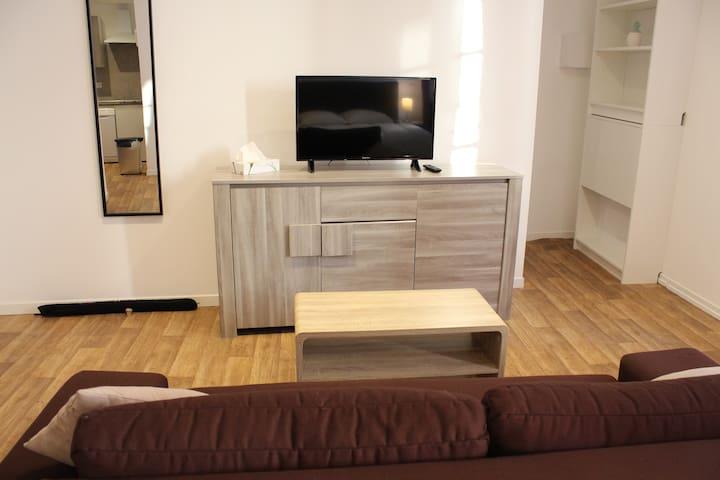 Coin salon, télévision et canapé 2 places.