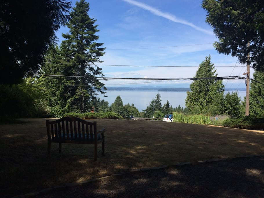 Portion of the view to Puget Sound and beyond from front yard