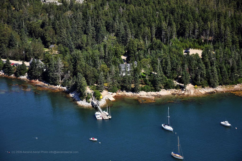 Aerial view of our property, showing our dock and moorings