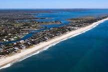 Arial view of the shore line. Ponquogue Beach, $25 per car (for day pass), in season; Memorial Day to Labor Day. Off season, no pass needed for the beach.