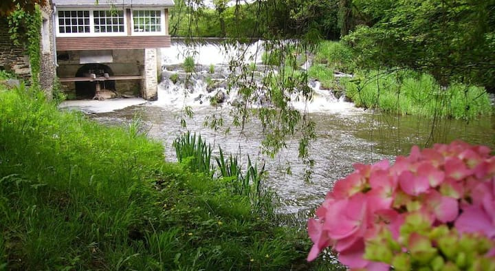 Moulin avec salon sur l'eau , vue sur la cascade