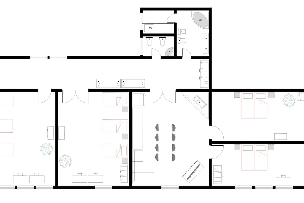 Floor plan with double beds