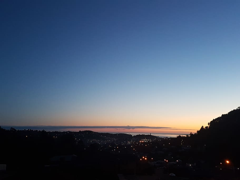 Morning view from the deck, out to Tasman Bay as the sun rises.