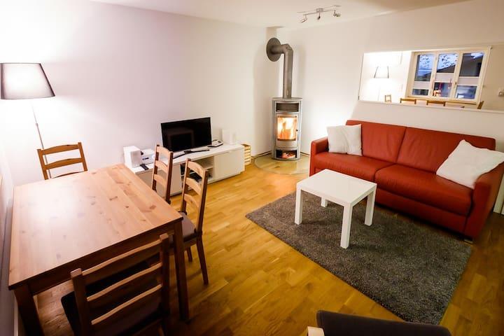 Holzofen im Wohnzimmer.