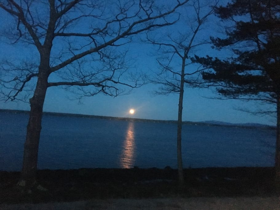 Moonrise over Union Bay from Sea Fern Cottage