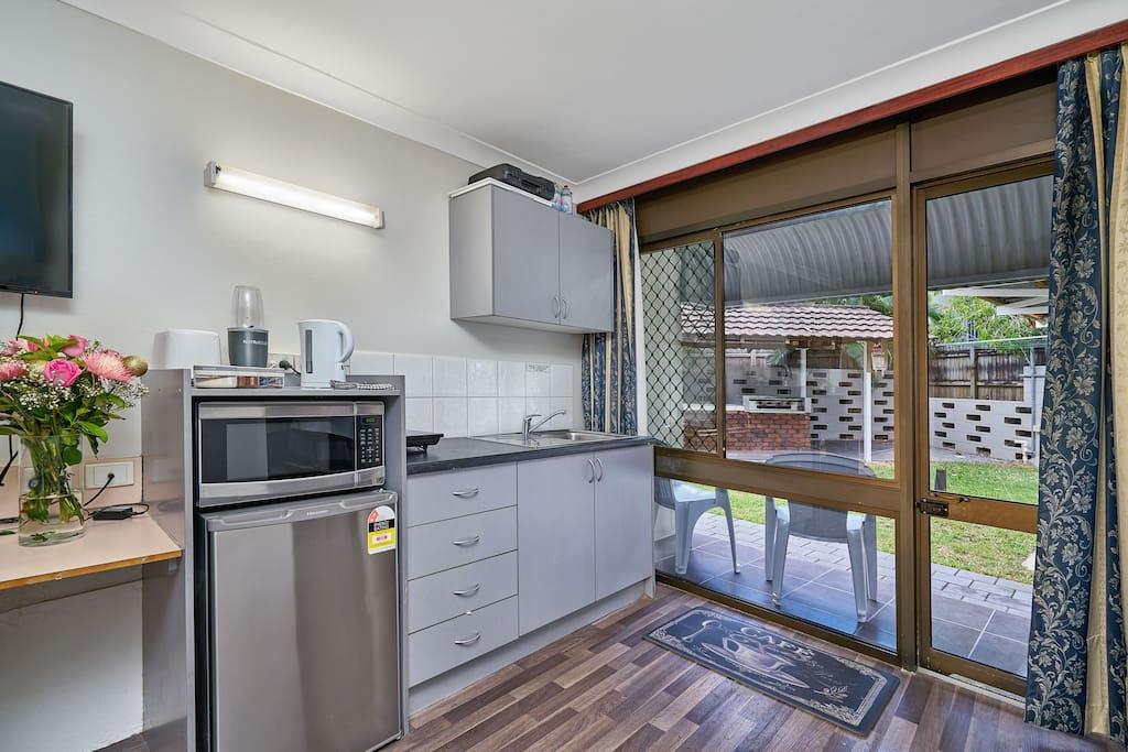 Kitchenette - microwave, fridge, nutribullet, tea/coffee etc