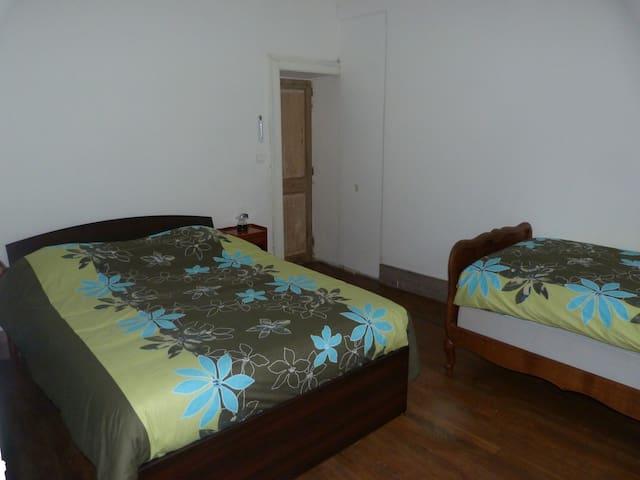 Chambre verte, un lit double, un single