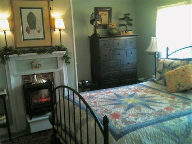 The Hattie Room has private en-suite bathroom with shower stall.  Flat Screen TV with Expanded Cable