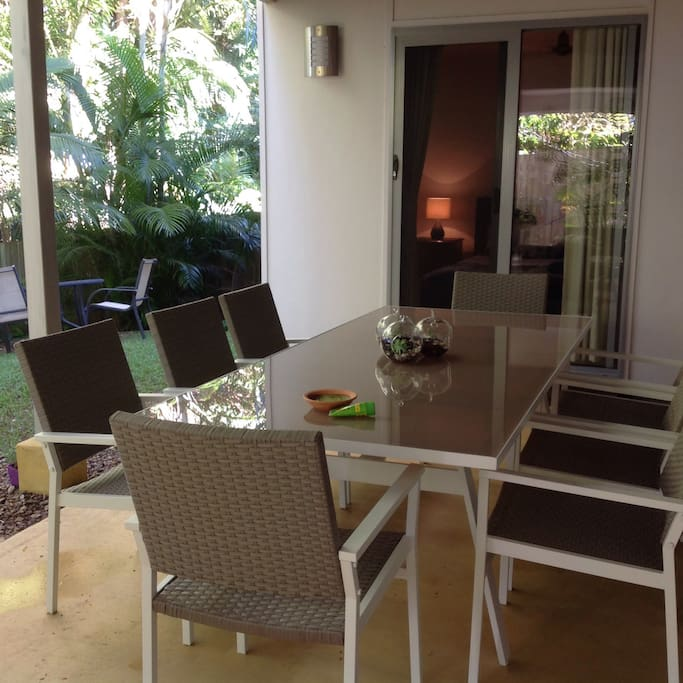 Enjoy cooking on the BBQ and entertaining around the 8 seater outdoor setting