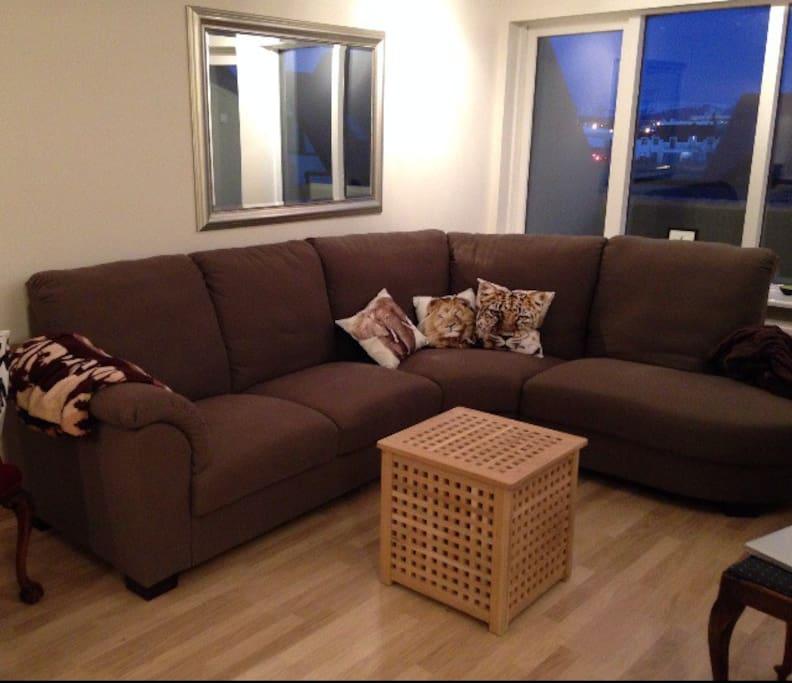 The living room (plus a nice balcony)