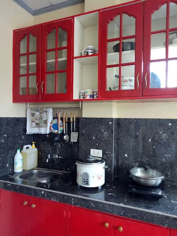 Kitchen with stove and rice cooker plus cooking aids with dishwashing liquid