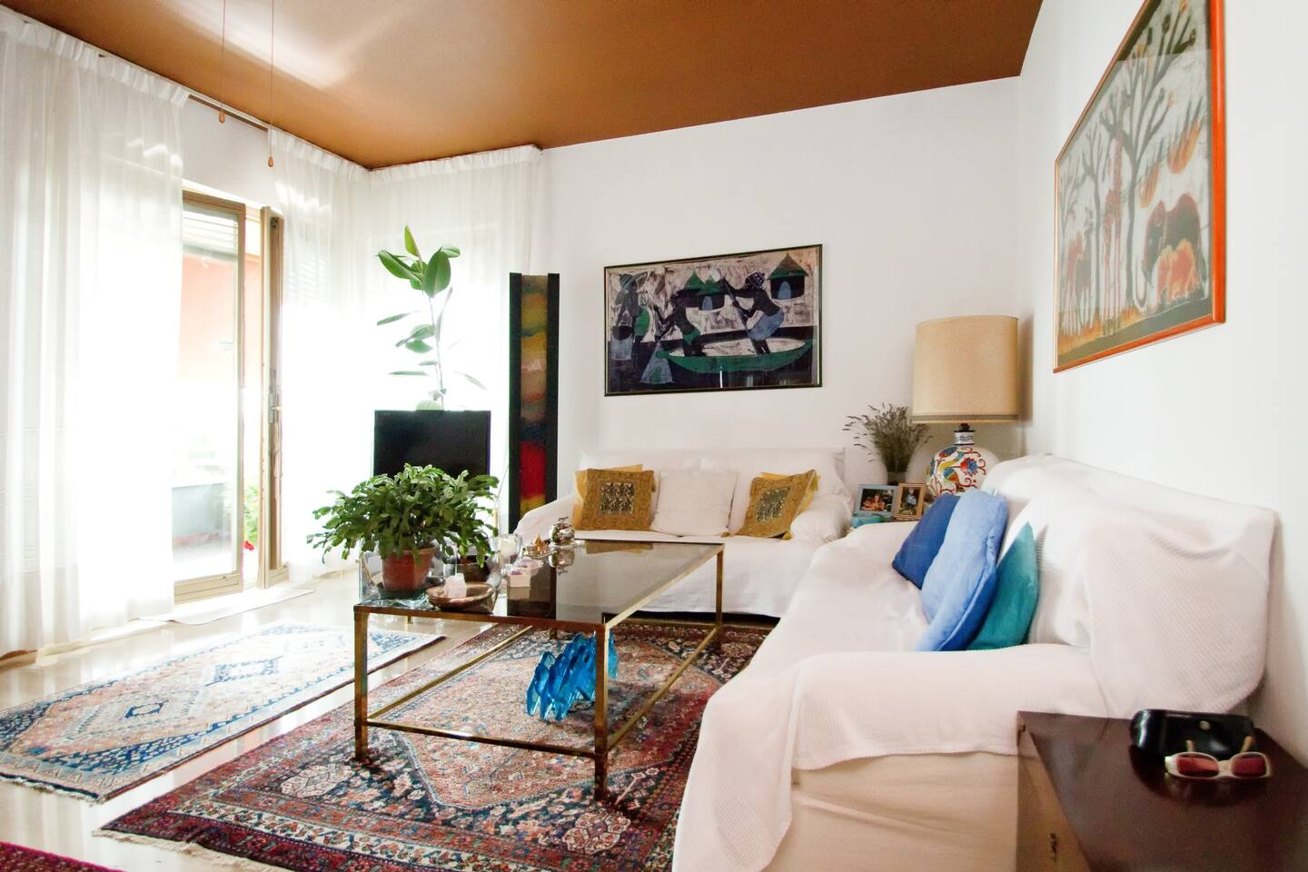 The bright living room...