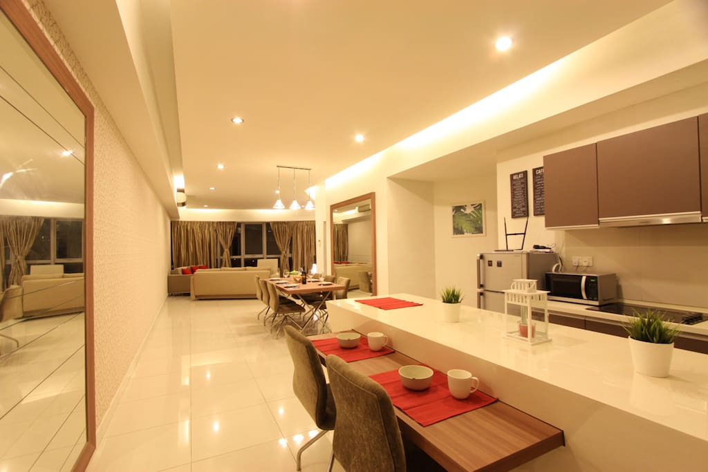 Spacious living room with long bar
