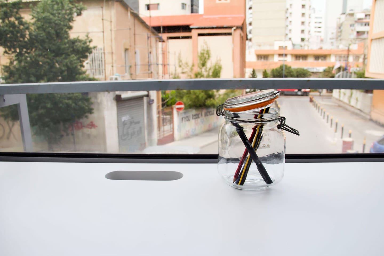 Desk view onto the street