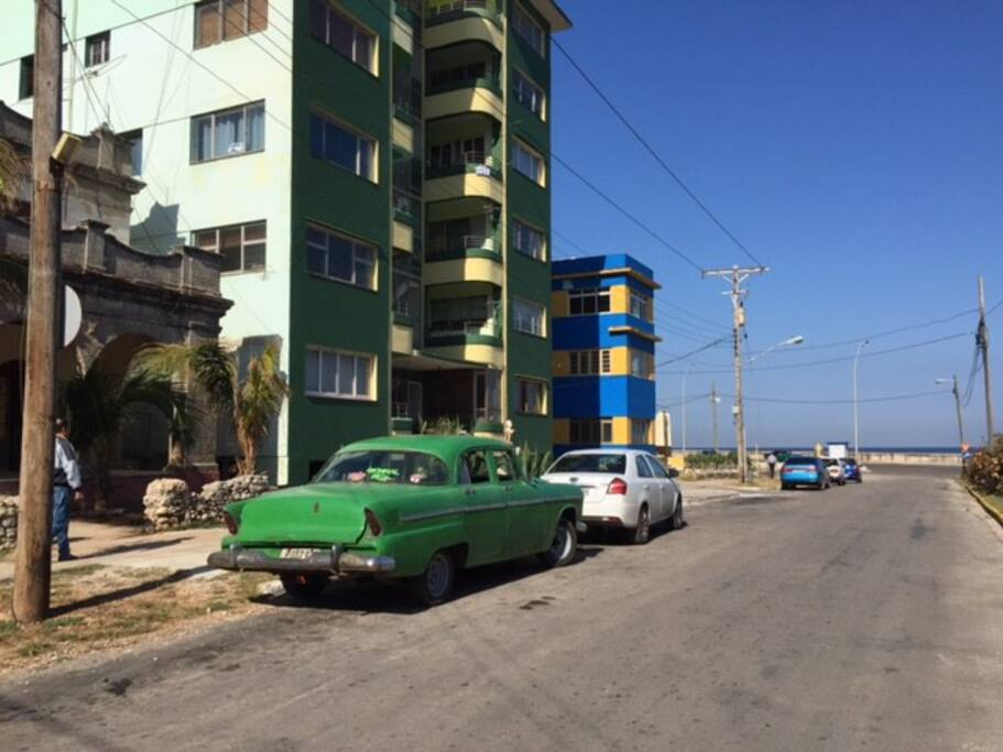 Front of the house with on the background the Malecon