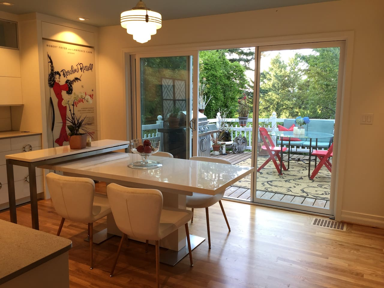 Main level - (shared space)  The view that welcomes you.  You can use the kitchen and the deck.