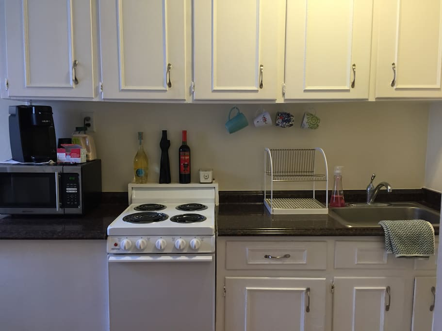 Access to stove, oven, microwave, Keurig, toaster & refrigerator.