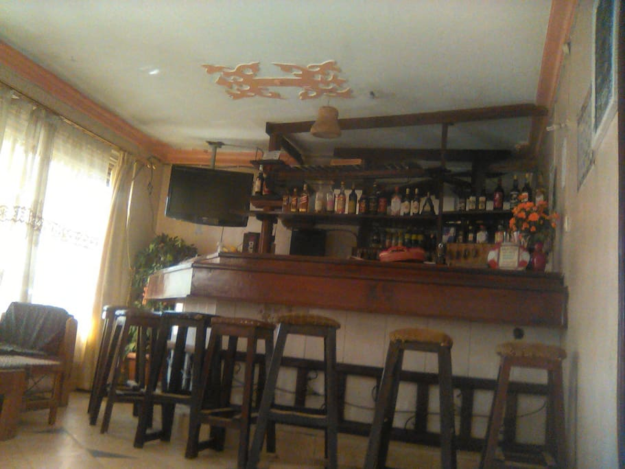 Fully stocked bar, with drinks, wines and other local and international drinks.