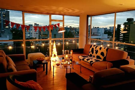 Big flat, bright room, amazing view - Cidade do México