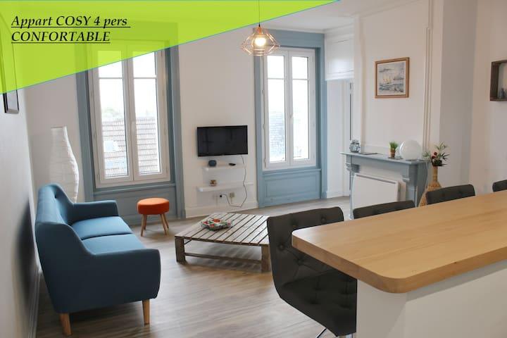 Appart COSY 4 pers - centre ville + Wifi - Équeurdreville-Hainneville - Apartamento
