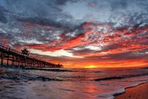 San Clemente Pier is located just about a 10-15 minute walk north along the beach trail.