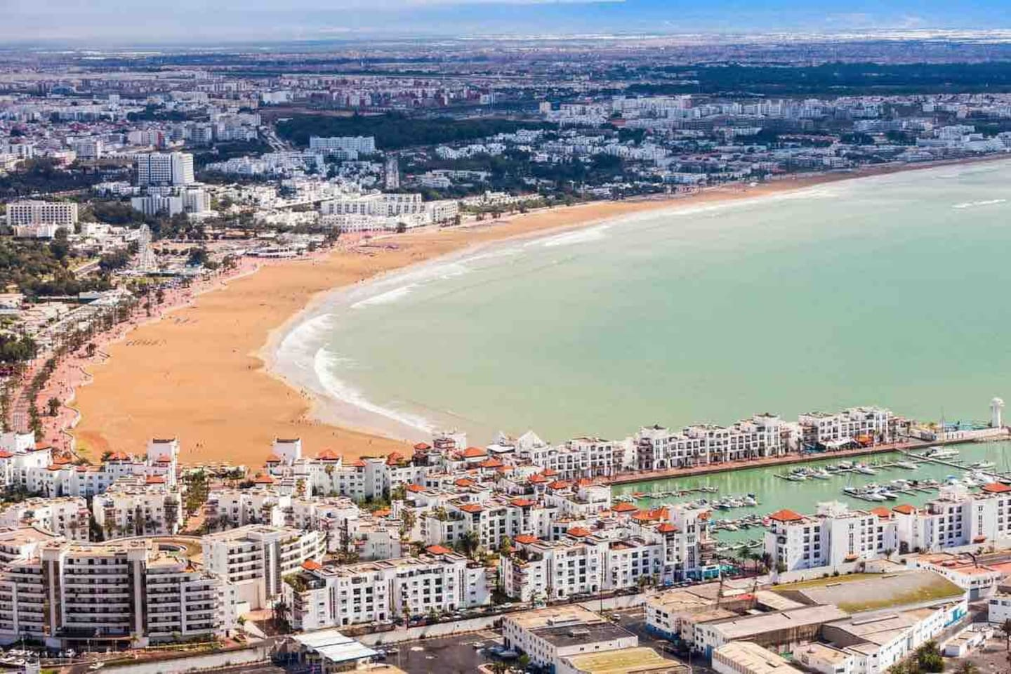 Aerial view of Agadir beach