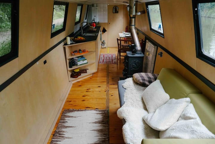 Scandinavian inspired canal boat in London