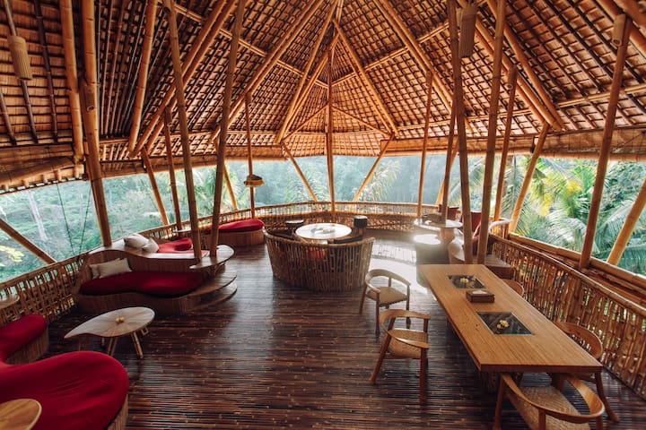 Temple House 3bds Eco Bamboo House Pool River View