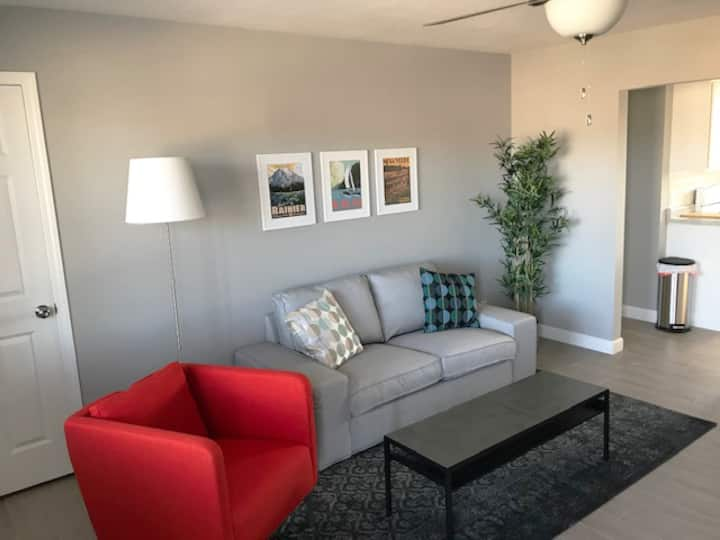 Newly renovated, solar 2 BR near Bradley (Apt. A)