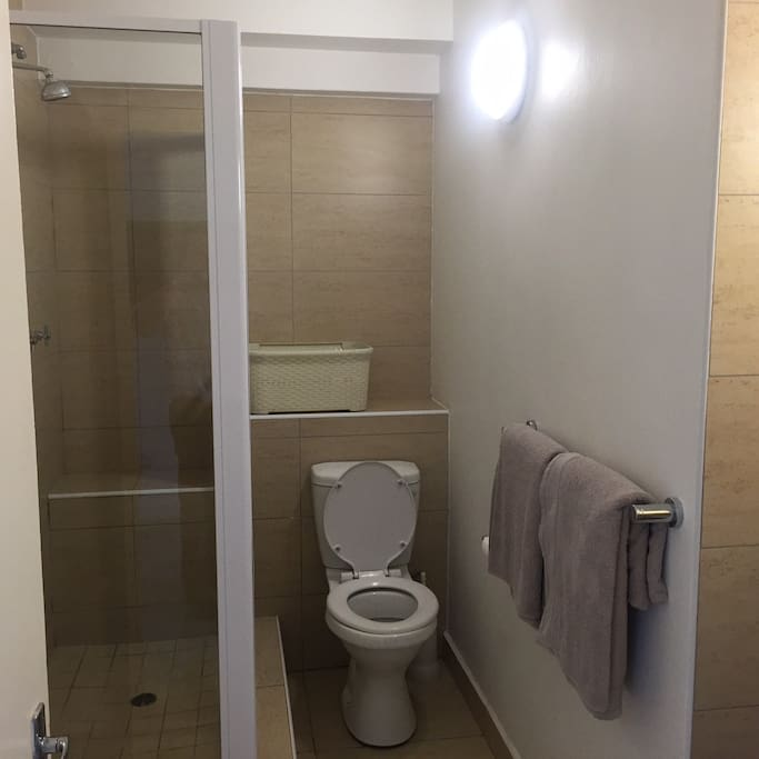 Bathroom with shower only.