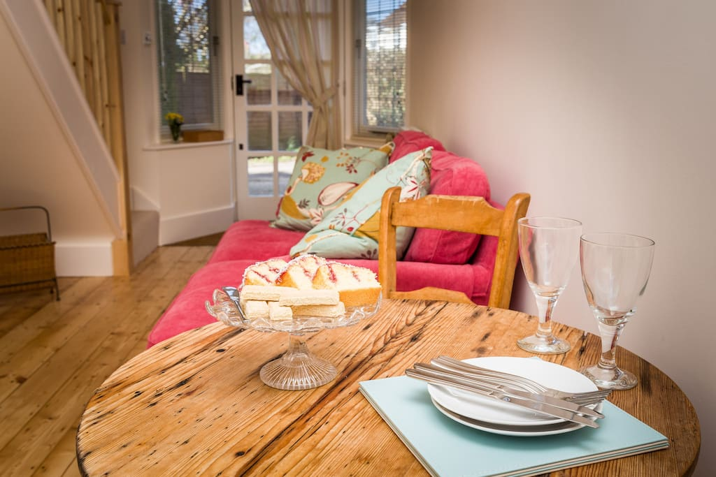 The annexe is open, light and bright with windows at the front and back