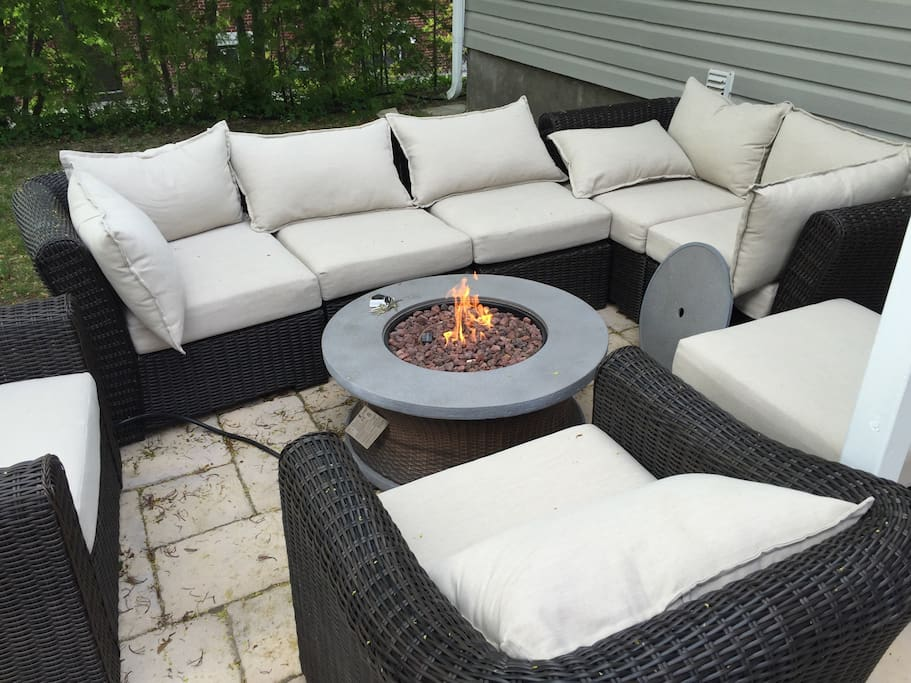 Backyard furniture with fire pit