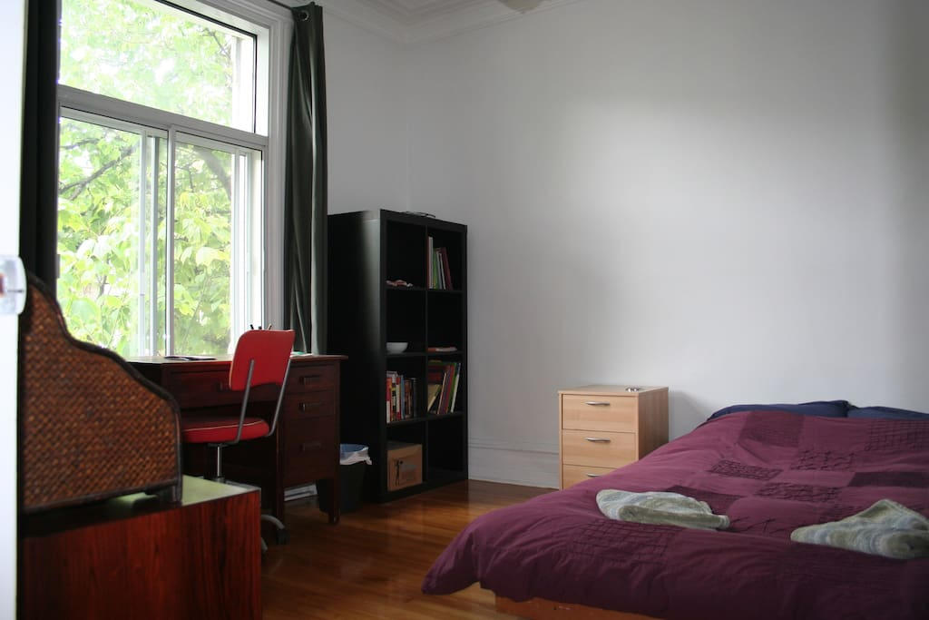 This is the room for rent. It's big (about 15 m2, 150 square feet), bright and there are two closets for you to use.