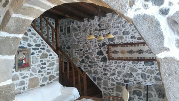 Combination of stone and wood house , Nisiros