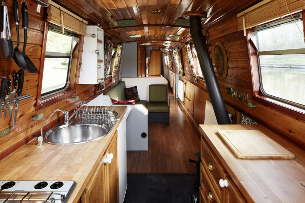 Step off the back deck into the galley.