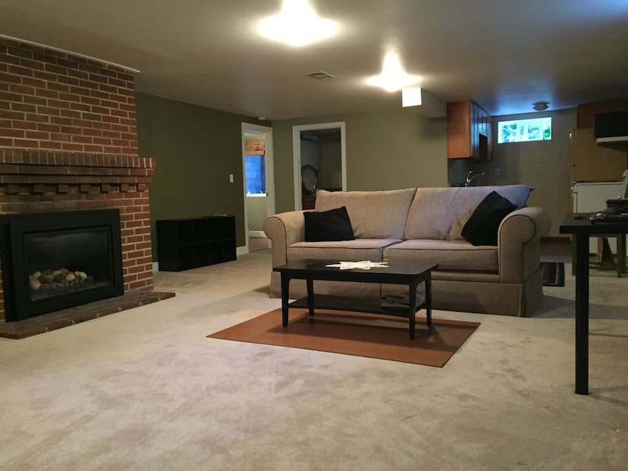 Spacious livingroom with fireplace and enough carpet room for yoga and stretching out after your travels