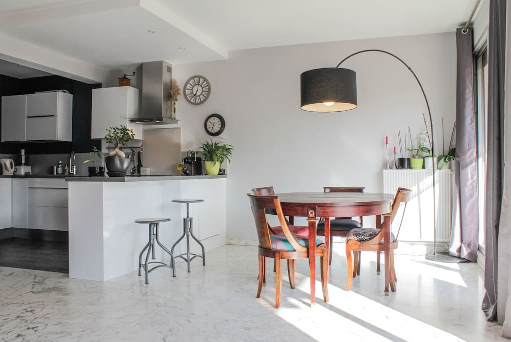 Espace salon/salle à manger de 40 m2. Spacieux et lumineux, il donne sur une terrasse plein sud.