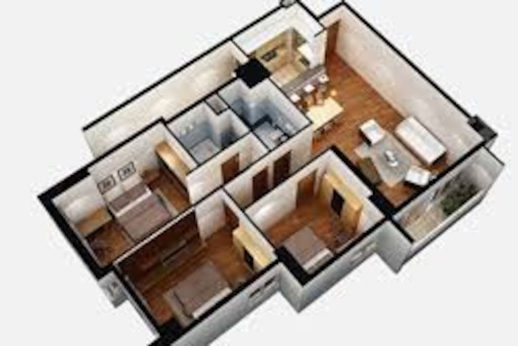 3D view of the apartment: This is the original design by FLC, with a total area of 153m2. The apartment has been redesigned to make the lounge room more spacious.