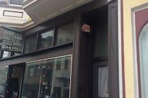Front door above artisan retailer