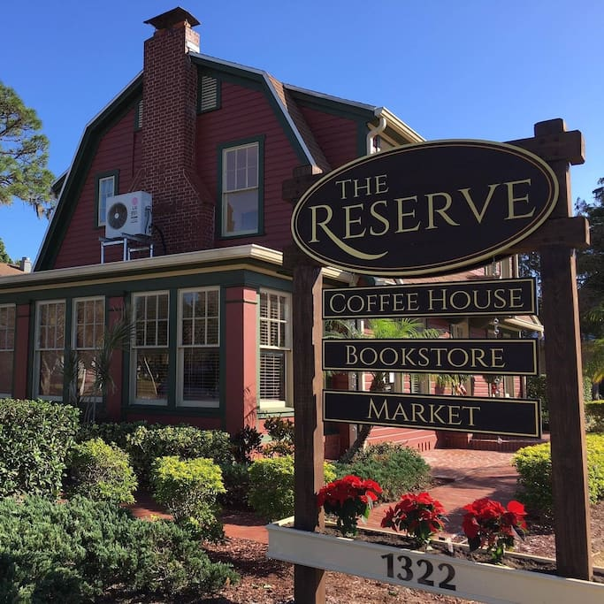 The Reserve guest accommodations (view of main building); includes a coffee house, bookstore, craft beer counter, wine bar/wine shop, and occasional light live music on Fridays, Saturdays, and Sunday afternoons (acoustic guitar, jazz trio, etc.)