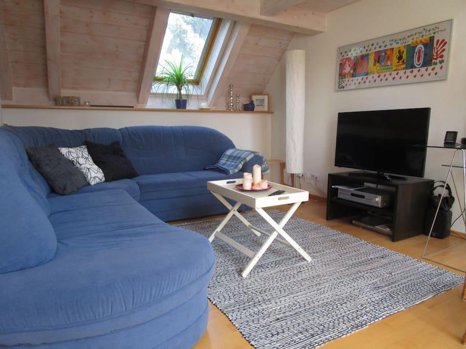 Wohnbereich mit TV, DVD, Radio, CD und großem Sofa